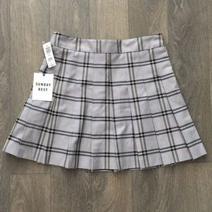 Sunday Best Olive Skirt Pearl Grey Plaid 6 NWT